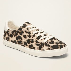Old Navy Leopard Print Lace Up Sneakers Size 11
